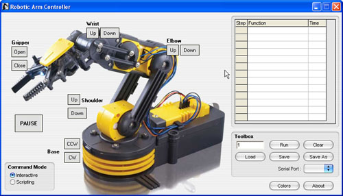 Low Cost Robotic Arm Uses Hidmaker Fs For Usb Interface Usb